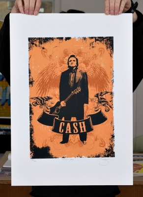 ''Johnny Cash'' screenprint by Barry D Bulsara