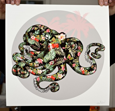 ''Hawaiian Octopus Black'' print by Rosco Brittin