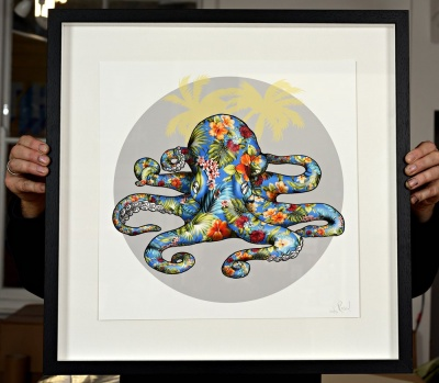 ''Hawaiian Octopus Blue'' giclee print by Rosco Brittin
