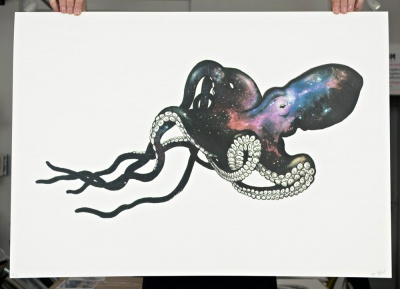 ''Octopus cosmic nervous system'' screenprint by Rosco Brittin