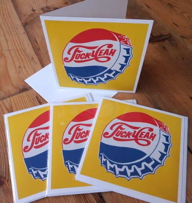 Pack of four ''Fuck Yeah'' greetings cards