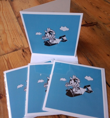 Pack of four ''Kitty Kong'' greetings cards