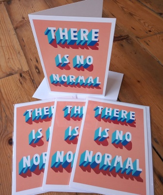 Pack of four ''There is no normal'' greetings cards