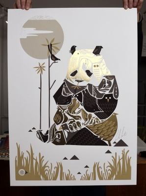 ''Cirque de Bird XL - Gold'' limited edition screenprint