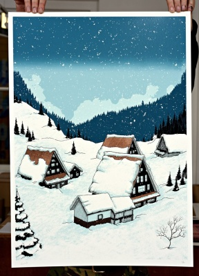''Snowy Houses'' screenprint by Louis Craig Carpenter