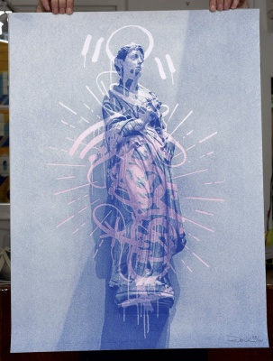 ''Graffiti Halo (Blue)'' limited edition screenprint by Donk