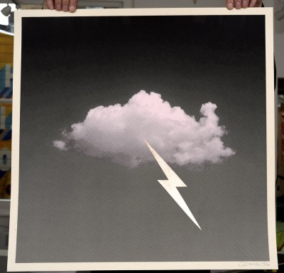 ''Little Fucking Cloud (Pink)'' screenprint by Donk