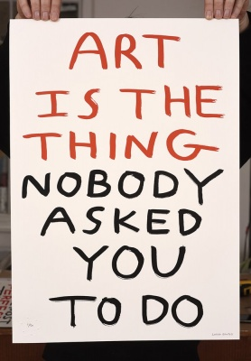 ''Art is the thing...'' screenprint by Babak Ganjei