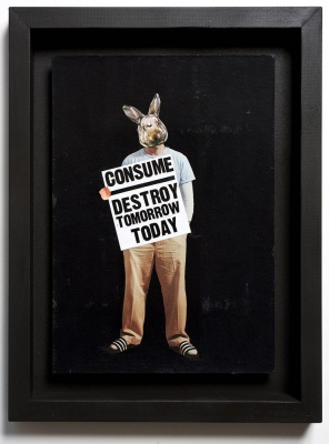 ''Consume'' original collage by Benjamin Irritant