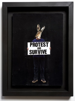 ''Protest and Survive'' original collage by Benjamin Irritant