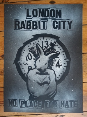 ''London Rabbit City'' limited edition screenprint by Benjamin Irritant