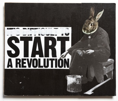 ''Start a revolution'' original collage by Benjamin Irritant