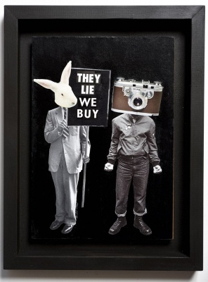 ''They lie, we buy'' original collage by Benjamin Irritant