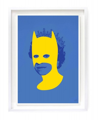 ''Rich enough to be Batman'' screenprint by Heath Kane - blue and yellow version