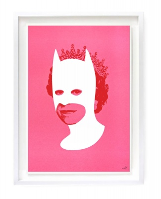 ''Rich enough to be Batman'' screenprint by Heath Kane - Candy pink, white and red version