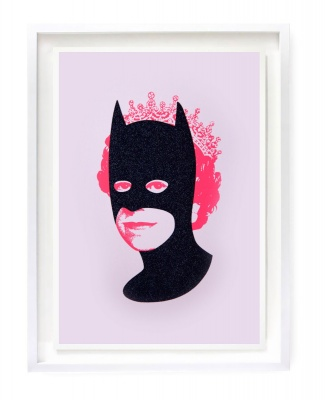 ''Rich enough to be Batman'' screenprint by Heath Kane - Black diamond dust and neon pink version