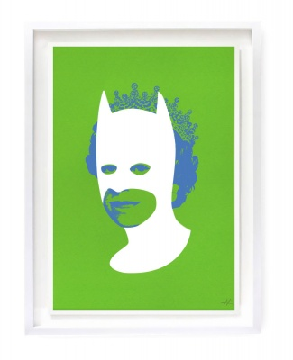 ''Rich enough to be Batman'' screenprint by Heath Kane - green white and blue version