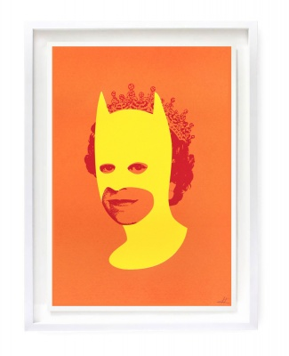 ''Rich enough to be Batman'' screenprint by Heath Kane - orange, yellow and red version