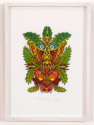 ''Foliate Head 1'' limited edition screenprint by Tony Lee
