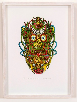 ''Foliate Head 2'' limited edition screenprint by Tony Lee