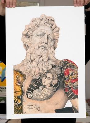 ''Tattooed Tiberinus'' limited edition giclee print by Jose Madrid