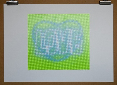 ''Love (Green)'' limited edition screenprint by Paula MacArthur