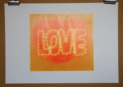 ''Love (Orange)'' limited edition screenprint by Paula MacArthur