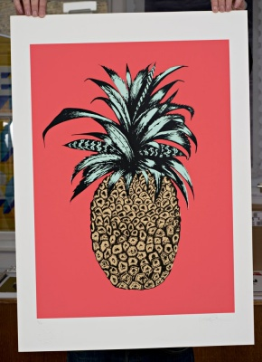 ''Pineapple (Pink)'' limited edition screenprint by Emily Newson
