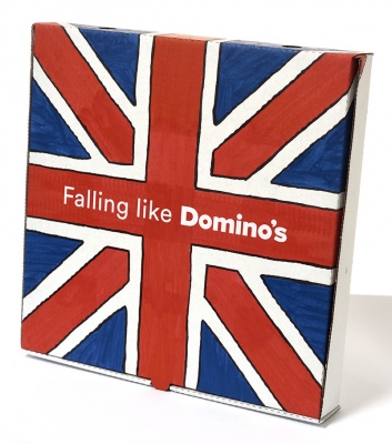 ''Falling like Domino's'' custom pizza box by Alex Bucklee