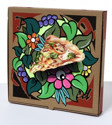 ''Life on the breadline'' custom hand painted pizza box by Artista