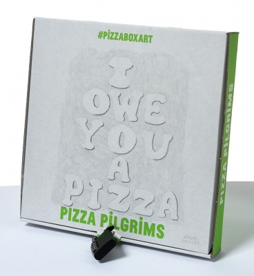 ''I owe you a pizza'' custom pizza box by Babak Ganjei