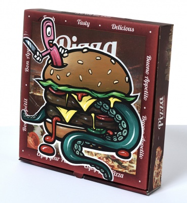 ''Seafood Special'' custom pizza box by Charlie Mcfarley