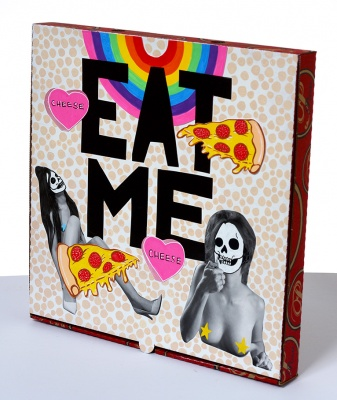 ''Eat Me'' custom pizza box by Hello The Mushroom