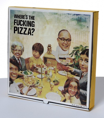 ''Where's the f-ing pizza?'' custom pizza box by Oli Fowler