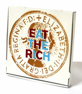 ''Eat The Rich'' custom pizza box by Quiet British Accent
