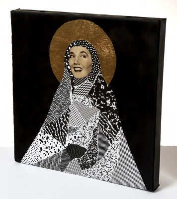 ''Madonna'' custom collage pizza box with gold leaf by Steven Quinn
