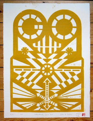 ''Go'' limited edition woodcut print by John Pedder