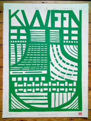 ''Kween'' limited edition woodcut print by John Pedder