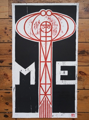 ''Me'' limited edition woodcut print by John Pedder