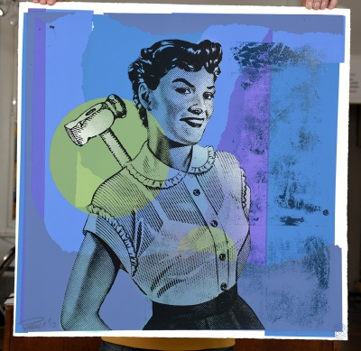 ''Hammer Woman - Blue'' limited edition screenprint by Mark Perronet
