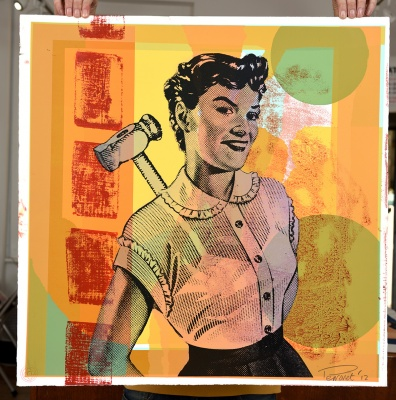 ''Hammer Woman - Yellow'' limited edition screenprint by Mark Perronet