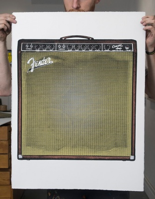 ''Fender concert amp (blue)'' screenprint by Mark Perronet