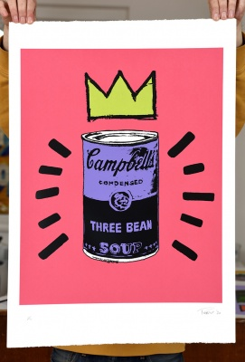 ''Three Bean Soup - pink'' limited edition screenprint by Mark Perronet