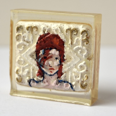 ''Protest Biscuit - David Bowie'' biscuit in resin by Sian Pattenden