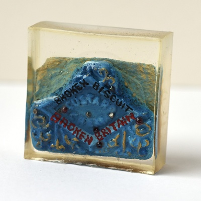 ''Protest Biscuit - Broken Britain'' biscuit in resin by Sian Pattenden