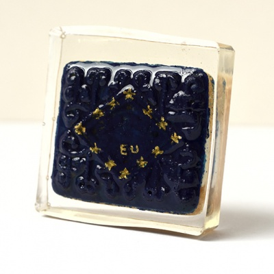 ''Protest Biscuit - European Union'' biscuit in resin by Sian Pattenden