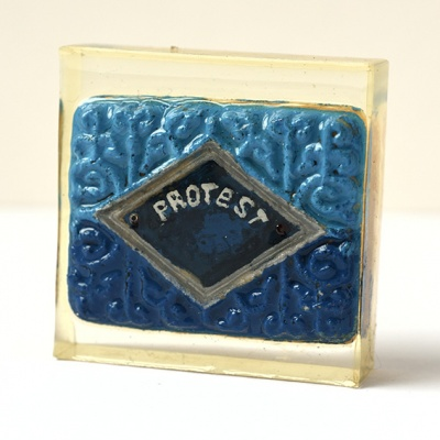 ''Protest Biscuit'' handpainted biscuit in resin by Sian Pattenden
