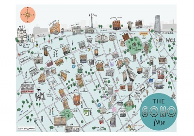 ''Soho Map'' limited edition print by Sian Pattenden