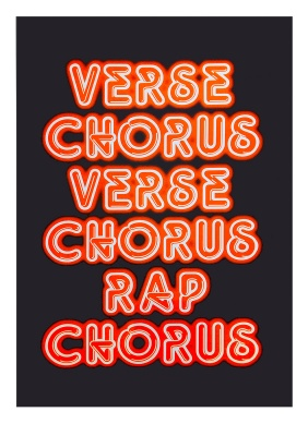 ''Verse Chorus Verse - Fluoro Orange screenprint by Sian Pattenden