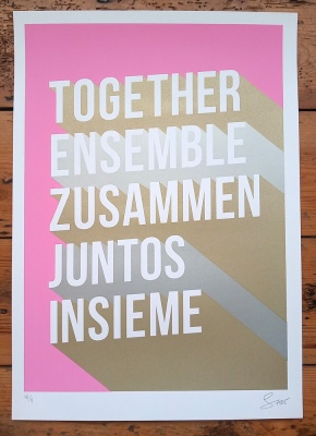 ''Together'' limited edition typographic screenprint by Serigrafica7585